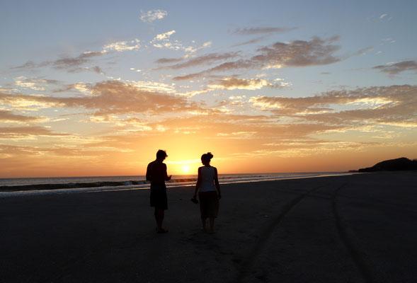 Evening walk down Popoyo Beach