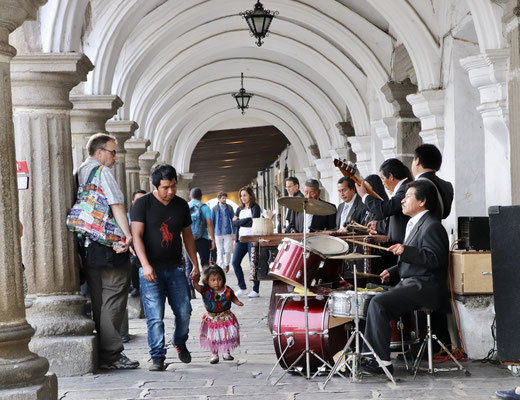 On the main plaza they played their traditional music