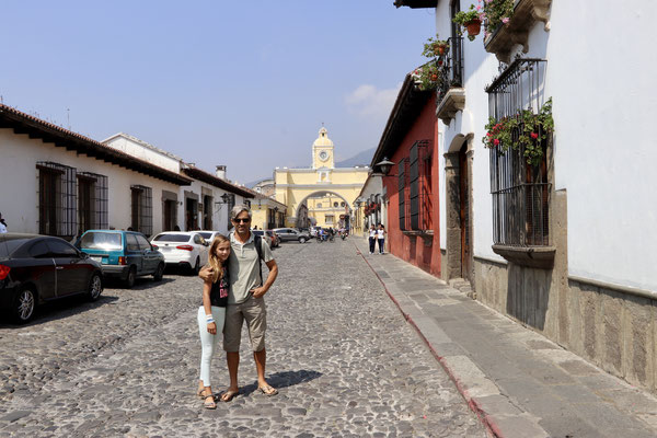 This street is famous for pictures because of the Santa Catalina Arch
