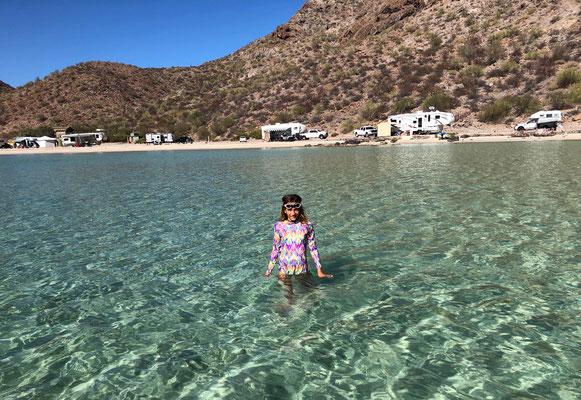 Lynn enjoying her dip with her new Hawaiian Swim Suit in Bahia de Concepcion