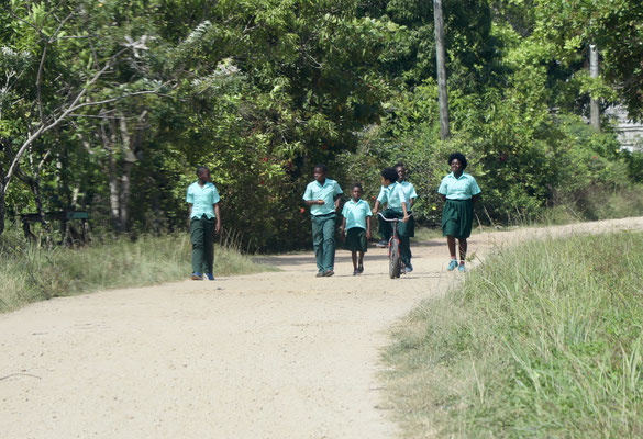 ..boys and girls in their uniform on their way to school..