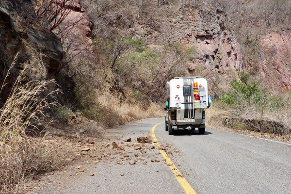 the road was so uncared-for, so rockslides covered the road once in a while