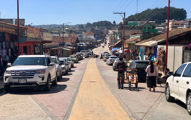 looking down the street of Chamula
