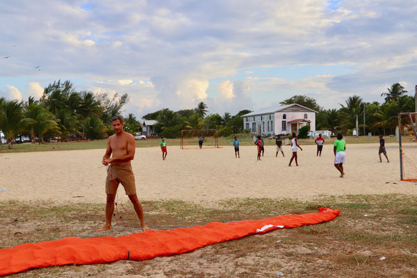 The soccer field was just the right place to set up for kiting