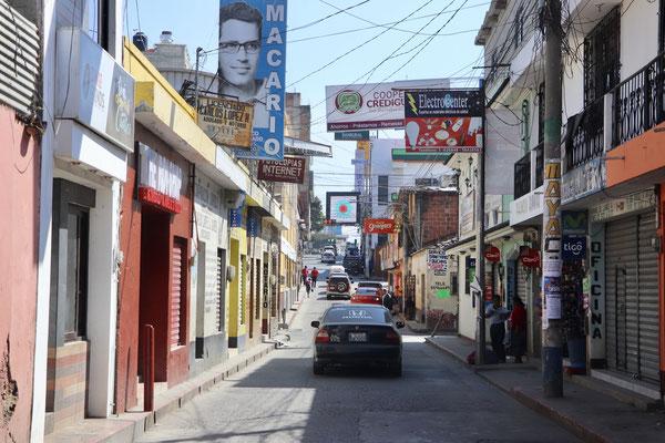 Narrow town streets of Santa Cruz del Quiche mostly one way roads