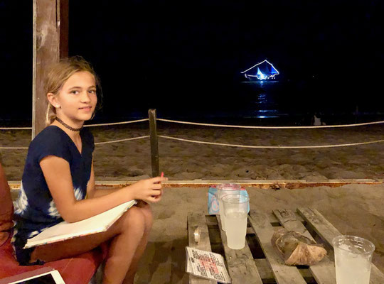 Lynn doing her home work as we enjoyed our Apéro, when we stopped off at Puerto Vallarta at the Beach for a night