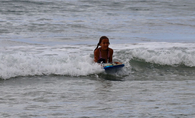 ..with her boogie board