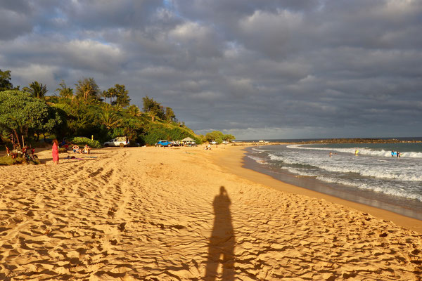 Evening glow on Keālia Beach just north of Kapaa