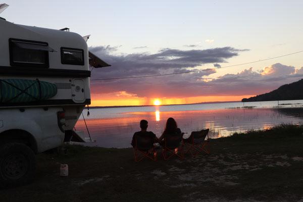 Evening aperitif at sunset