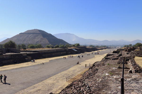 Looking down the road of the dead towards the Pyramid of the sun in Teotihuacan