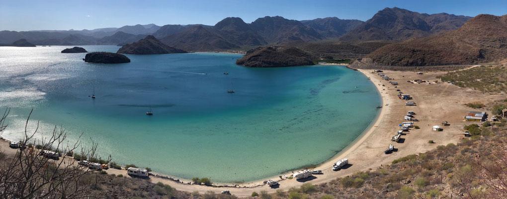 View down on to Bahia de Concepcion