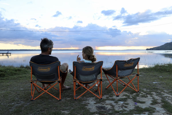 After a 4.5 hour trip through Tikal we were glad to rest back in our camping chairs down at Lago Peten Itza