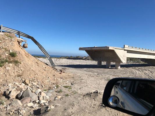 ..around washed away bridges and roads..