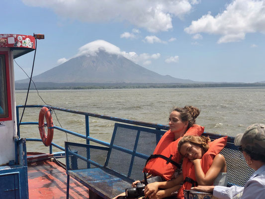 Life jackets on and off we go with the Volcano of Ometepe in sight