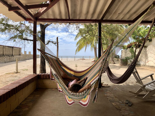 At last we arrive at Los Cocos Hostel in Popoyo - Lynn jumps into the hammock and listens to hear favourite audio dramas...