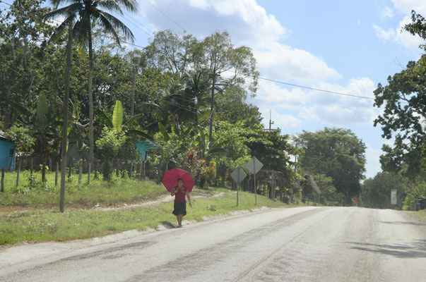 Leaving El Remate you see a lot of Indigenous People walking along side the road