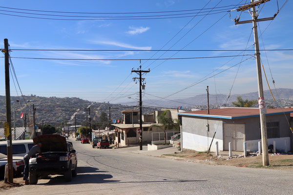 Typical rundown road side along the outskirts of Ensenada
