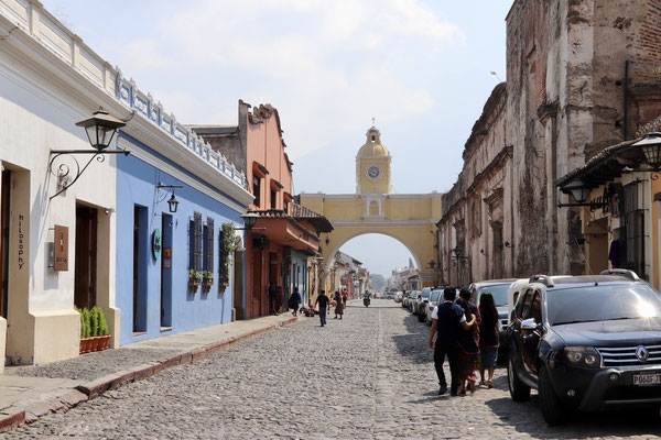 Antigua's Santa Catalina Arch and, beyond, the Volcán de Agua, which unfortunately you can't see