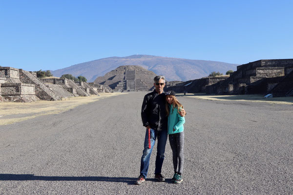 Standing in the road of the dead in Teotihuacan looking towards the pyramid of the moon....a very mysterious place...no one knows who built this city 2000 years ago