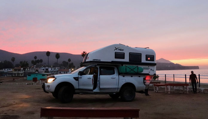Our first overnight spot in a camping in  Ensenada, Baja California