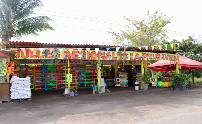 You find roadside shops with fruit & vegetable everywhere...we love it!