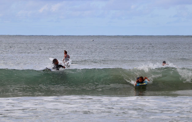 Lynn taking one of her first waves...