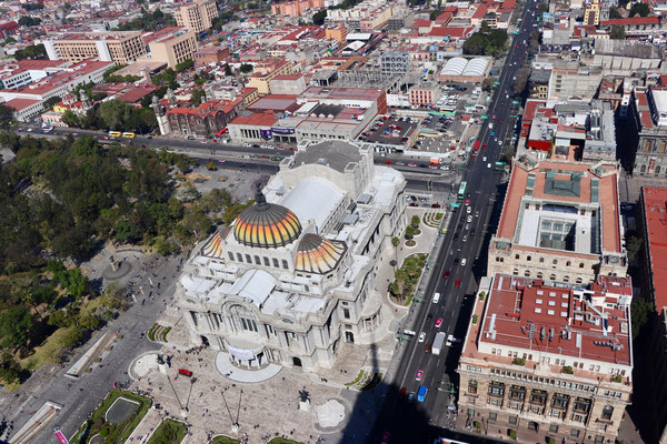 Looking down on to the Art Museum from the tallest building in the city called Torre Latino