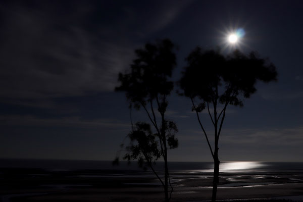 Full moon coming up over the Sea of Cortez