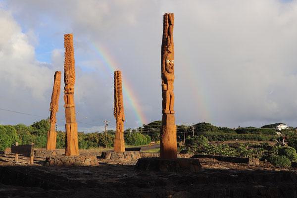 "Historic and religious landmark ""Kaneiolouma Heiau"" with Hawiian totums"