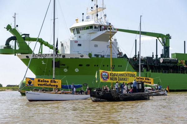 Hamburger Wassersportler aktiv gegen die offizielle Eröffnung der 9. Elbvertiefung