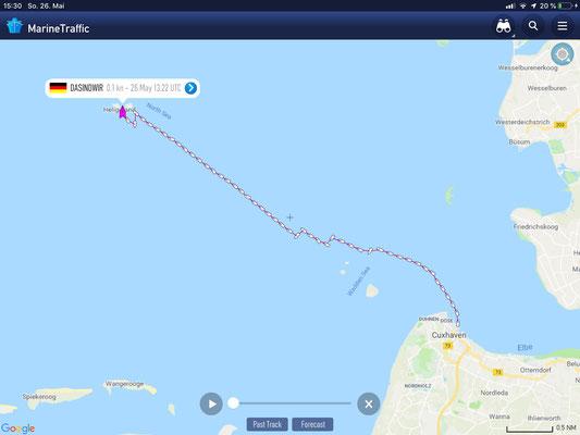 Cuxhaven - Helgoland. Route auf Marinetraffic