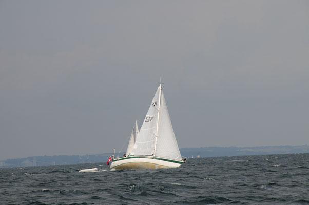 Kurz vor Marselisborg: Entgegenkommer hoch am inzwischen aufgefrischten Wind