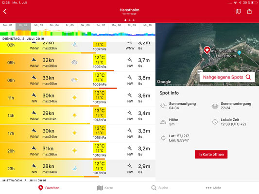 Windfinder Superforecast für Hanstholm