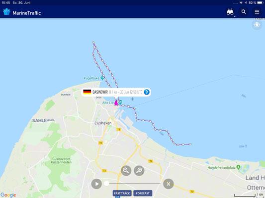 Marinetraffic- eine gute Entscheidung umzudrehen