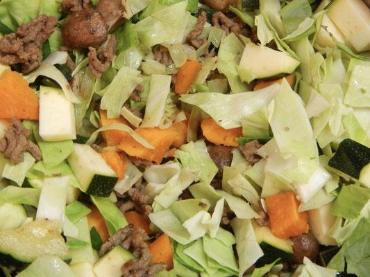 1 Spitzkohl- drei Tage Gemüseauflauf. Jeden Tag aufs Neue verlängert.