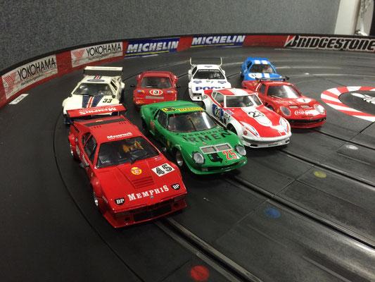 3x BMW M1, 2x Lamborghini Jota und je 1x Ferrari 308 GTB, Ferrari 512 BB, Nissan...