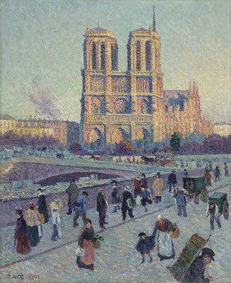 View of Notre dame Cathedral by painter Maximilien Luce