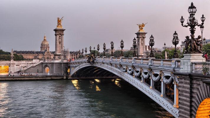 Seine River Walking tour Paris Alexandre III Bridge