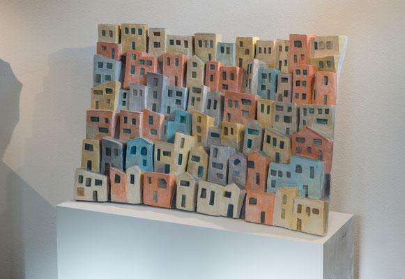 """""""Favelas"""" - Scagliola colorata, 100 / 69 cm"""
