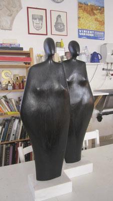 Africane in rovere annerito, h = ca. 75 cm