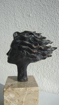 """""""Testa al vento"""" - Bronzetto, h = 13.2 cm"""