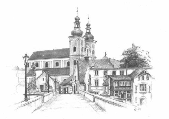 Zeichnung - Glatz / Klodzko - Minoritenkirche St. Maria