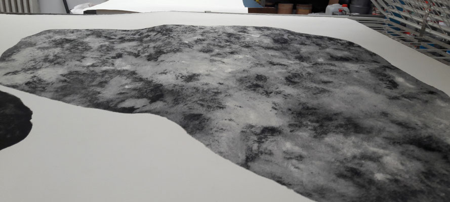 Carborundum print II, laying in the tray