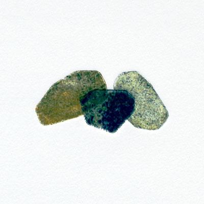Tiny stony friends VI, intaglio & Hayter technique, 3 pl.