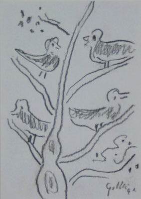 Bruno Goller, 4 Vögel, Bleistift auf Karton, 1992, 14,8 x 10,5 cm