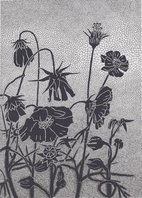 Elisabeth Mühlen, ohne Titel, 2011/2012,  Pigmenttusche und Acryl auf Karton, 30 x 21 cm