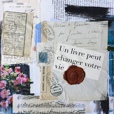 Un livre peut changer votre vie, Collages et aquarelle VENDU