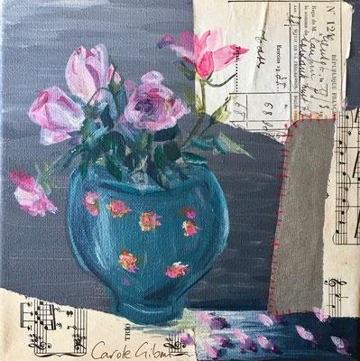 Roses Roses, collages et acrylique 20x20 VENDU