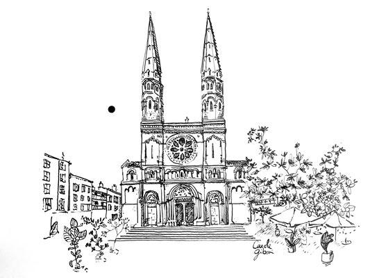 Mâcon Eglise St Pierre, encre de Chine 18X18 DISPONIBLE