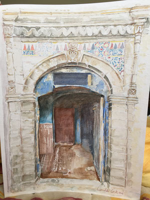 La Porte Marocaine, aquarelle 30X40 VENDU